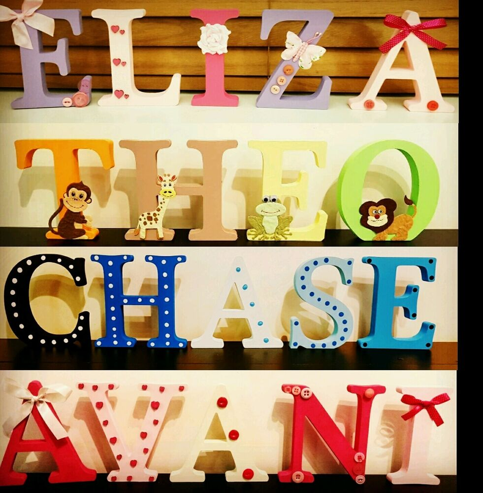 Personalised wooden names and letters baby names door for S letter decoration