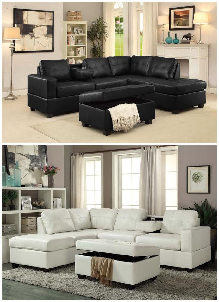 Latest Living Room: Brand New Pu Leather Living Room Reversible Sectional Sofa
