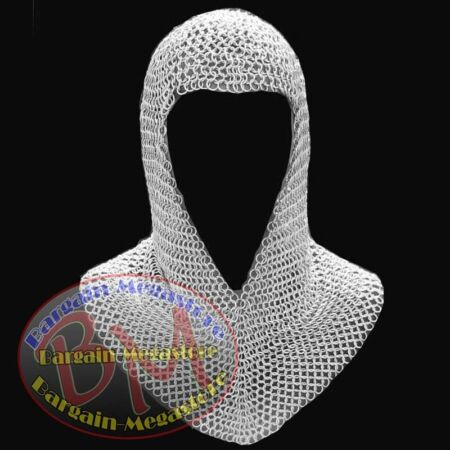 img-Aluminum Chainmail Coif V Neck Chain mail Hood larp re-enactment armor dress