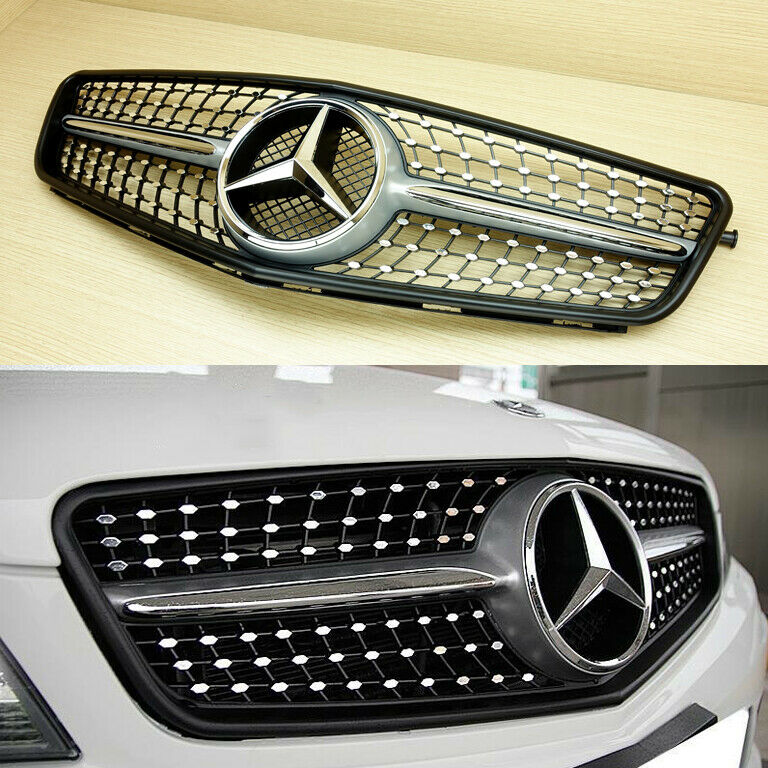 Silver diamond design c45 type front grille 08 13 for for Mercedes benz c300 parts