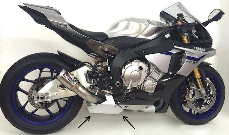 yamaha 2015 yzf r1 rn32 kat ersatzrohr alu abdeckplatte. Black Bedroom Furniture Sets. Home Design Ideas