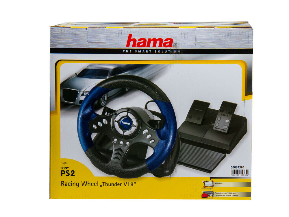 hama racing wheel ps2 thunder v18 lenkrad mit gaspedal. Black Bedroom Furniture Sets. Home Design Ideas
