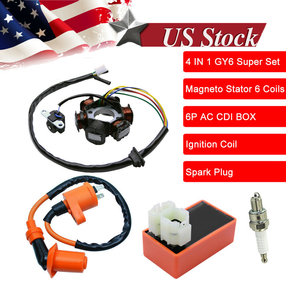 Moped Magneto Stator Racing Ignition Coil Cdi Spark Plug Gy6 49cc 50cc Scooter 989331468843