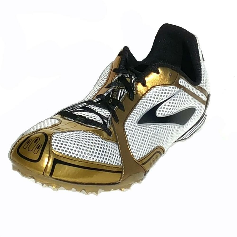 reputable site 1e9d7 11cec Details about New Brooks PR MD Hurdle Jump Track Spikes Running Shoes Mens  Size 12.5 Gold