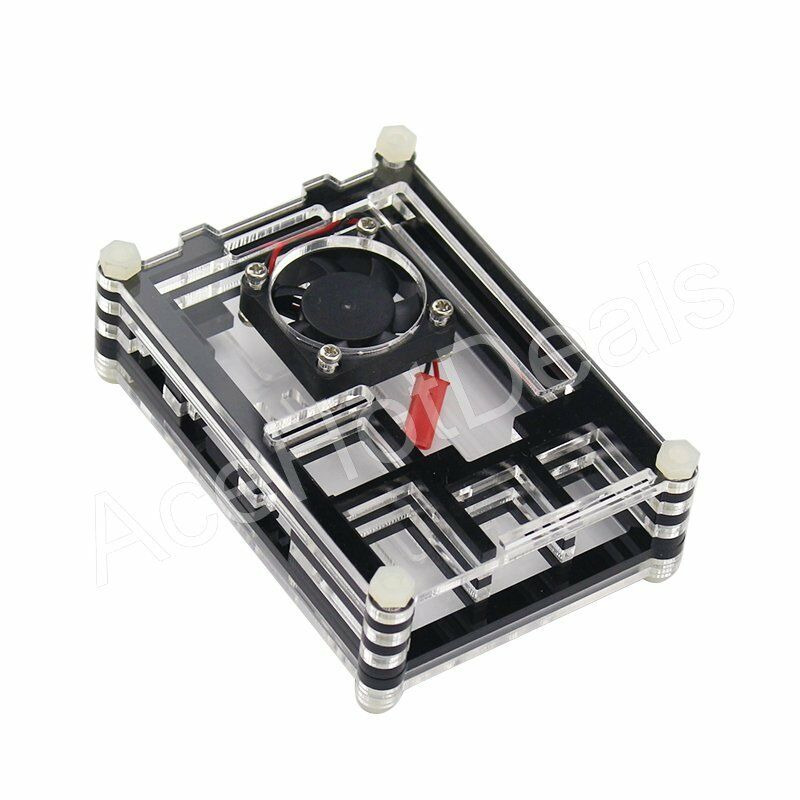 Black Slices Clear Acrylic Case With Cooling Fan For