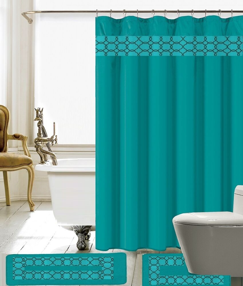 15 Piece Charlton Embroidery Banded Shower Curtain Bath