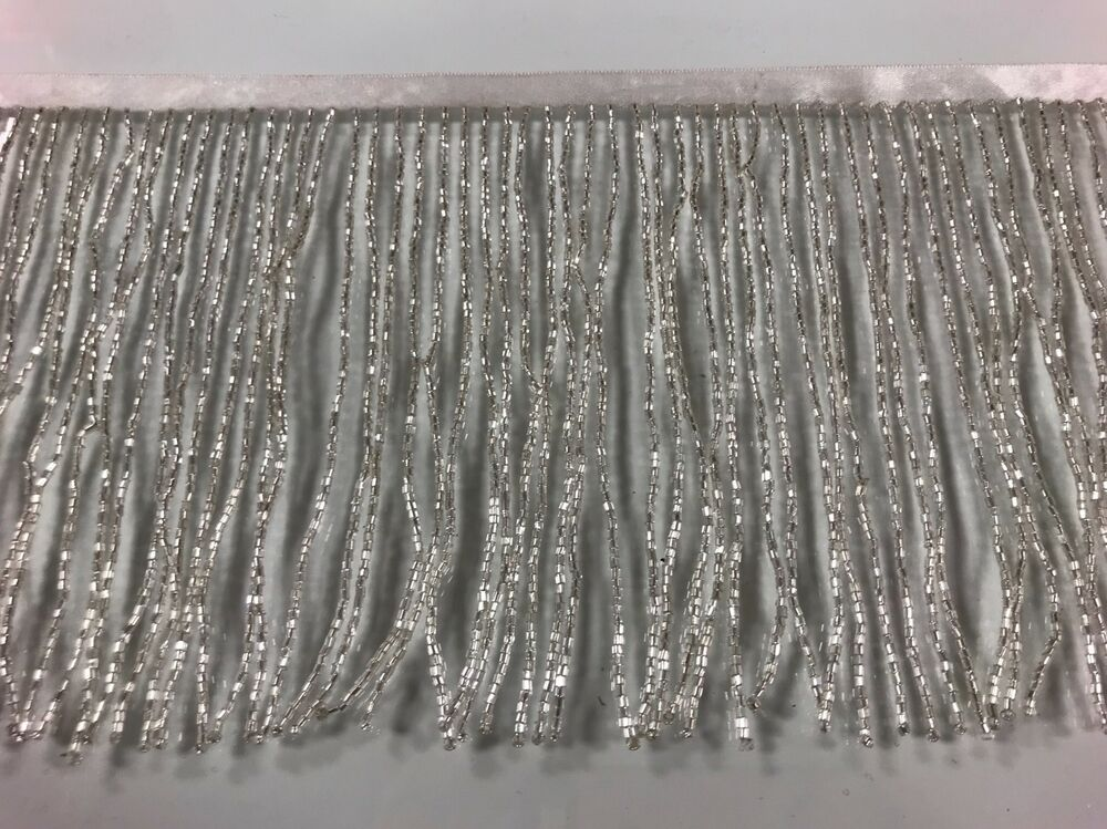 By The Yard 6 Quot Glass Silver Bugle Seed Beaded Fringe Lamp