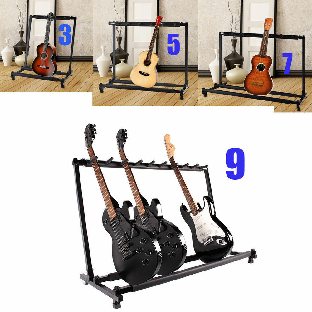 triple five seven multiple guitar bass stand holder stage folding rack ebay. Black Bedroom Furniture Sets. Home Design Ideas