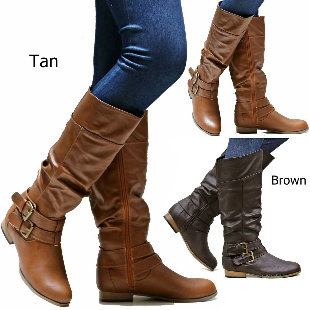 new wtus brown slouchy knee high boots