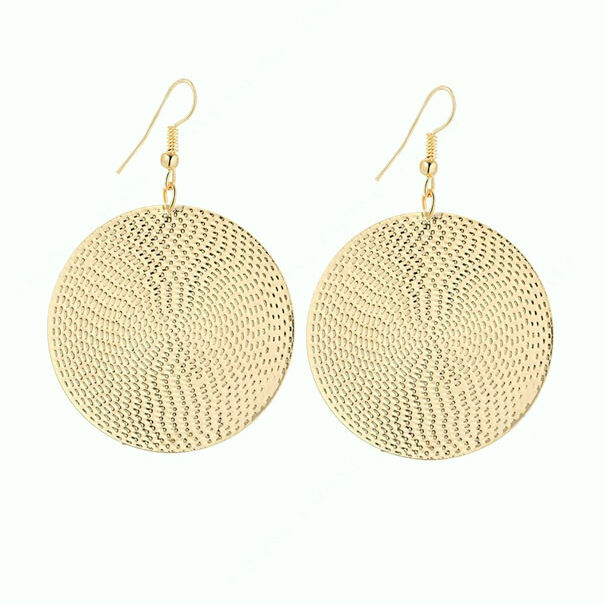 Big Gold Disc Earrings Round Statement Party Drop Hoop