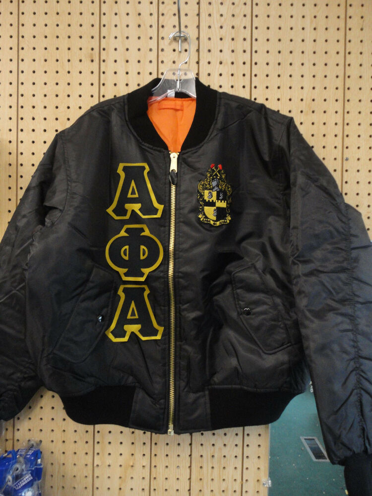 Alpha Phi Alpha Black Ma 1 Flight Jacket With Letters And