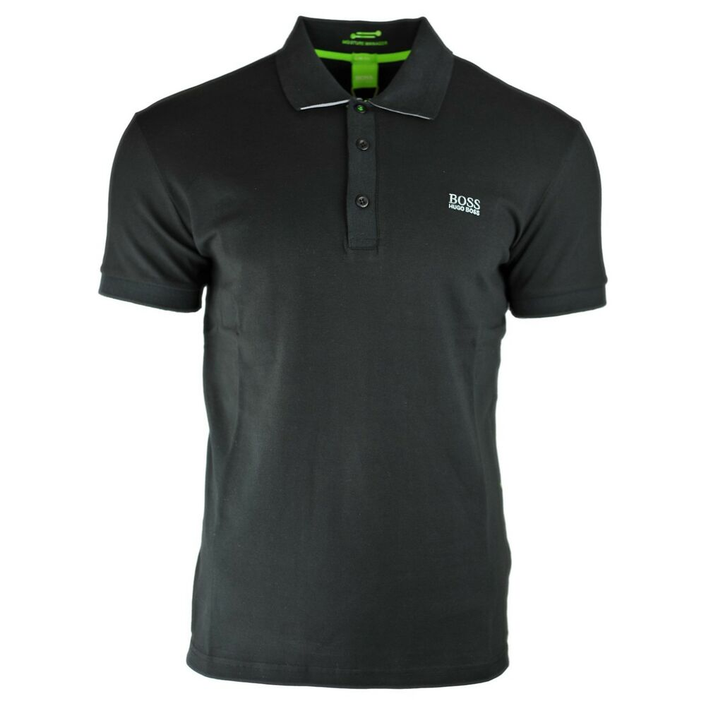eac59bfb6 Details about Hugo Boss Slim Fit Moisture Manager Stretch Cotton Blend  Black Polo Shirt