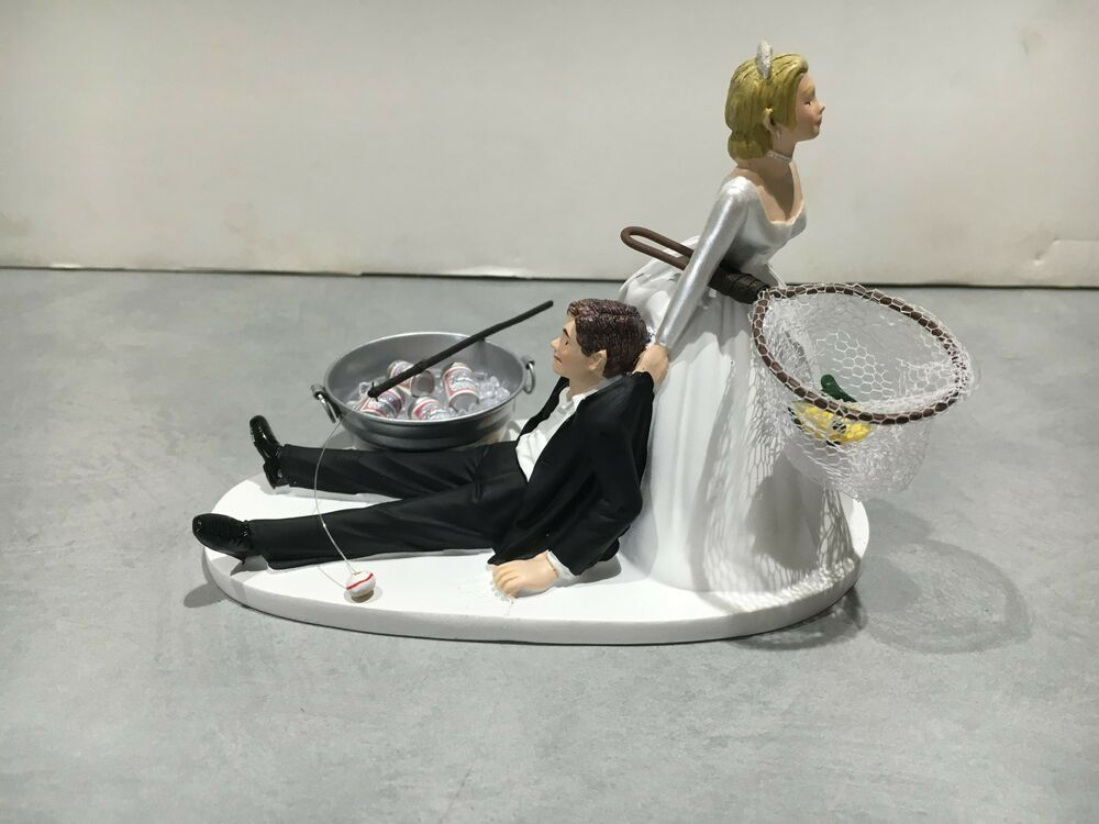 craft beer wedding cake topper fish fishing humor groom wedding cake topper 13036