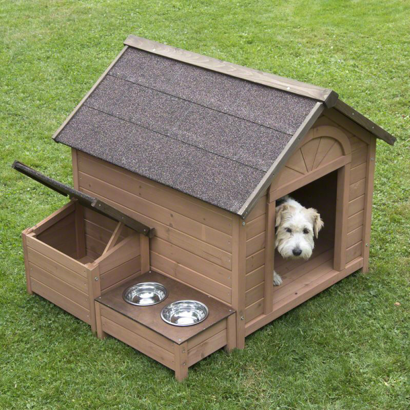 Outdoor Dog Kennel House Run Wooden Feeding Food