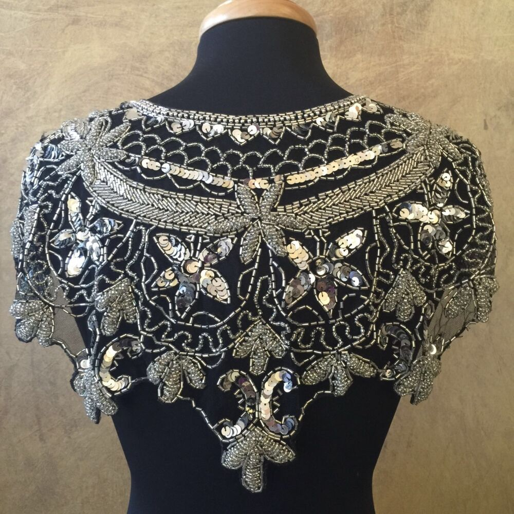 sequin beaded lace hip wrap collar shoulder shrug shawl