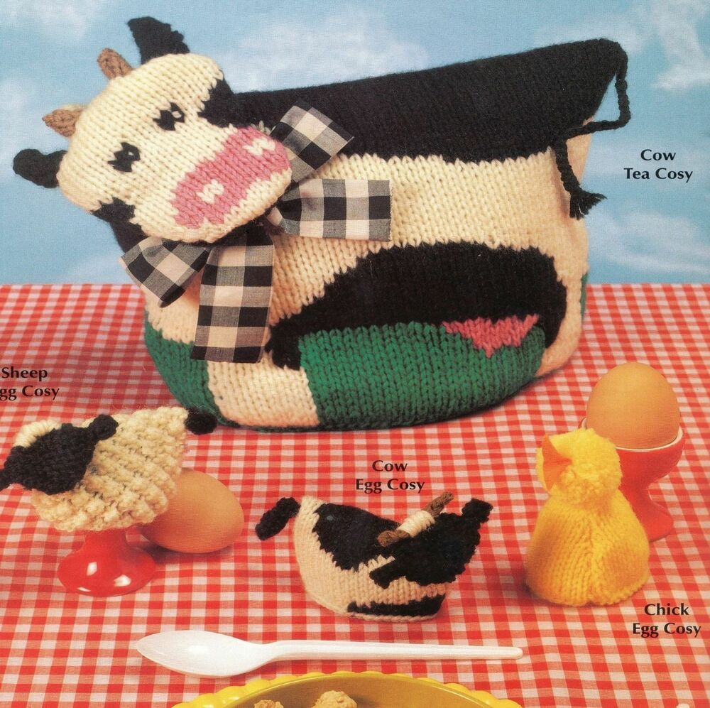 809 Knitting Pattern For Cow Tea Cosy With Sheep Cow And Chick Egg