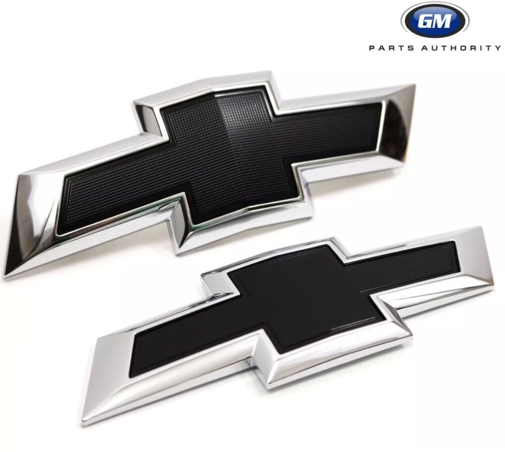 All Chevy black chevy symbol : 2016-2018 Chevrolet Malibu Front & Rear Black Bowtie Emblem Pkg ...