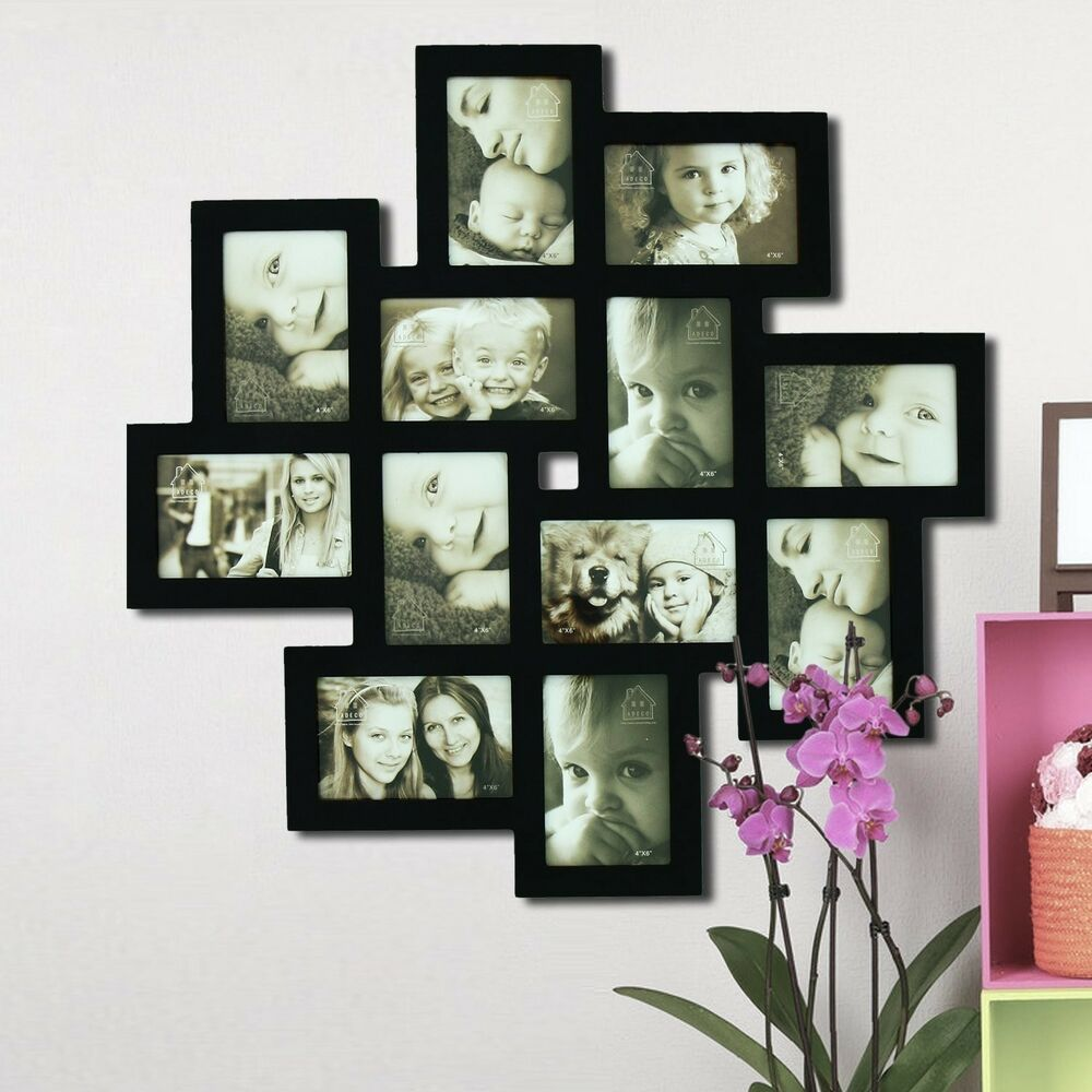 Decorative black wood wall hanging collage picture photo for Unique wall frames