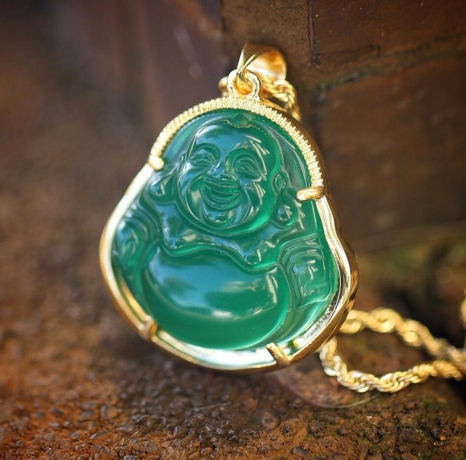 Mens 18k Gold Green Jade Buddha Pendant And Rope Chain
