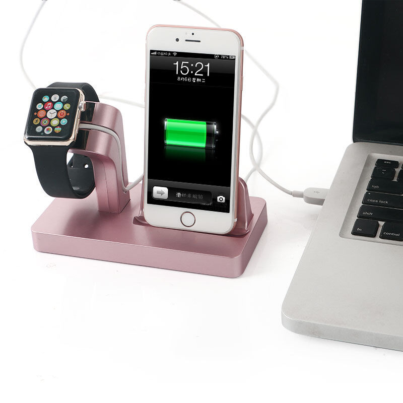 charging dock station cradle desktop charge stand holder for apple watch iphone ebay. Black Bedroom Furniture Sets. Home Design Ideas