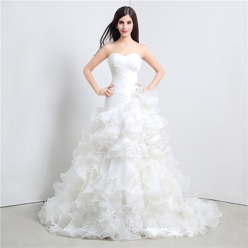 organza wedding dress bridal gown custom size 6 8 10 12 14 16 ebay