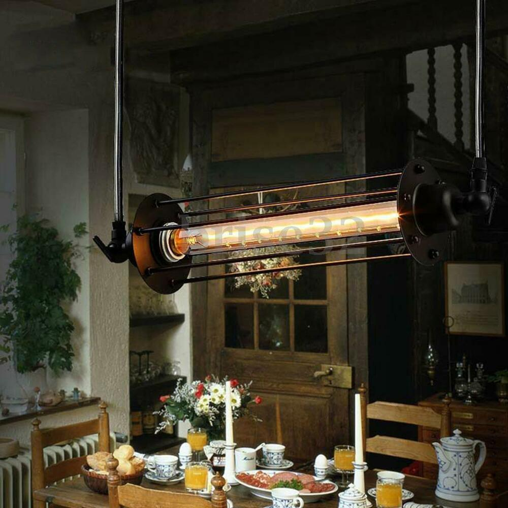 Industrial Vintage Flute Pendant Lamp Kitchen Bar Hanging