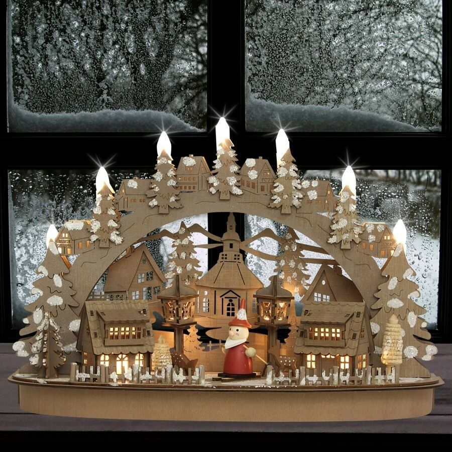 weihnachtsdorf led deko winterdorf aus holz beleuchtet weihnachten lichterbogen ebay. Black Bedroom Furniture Sets. Home Design Ideas