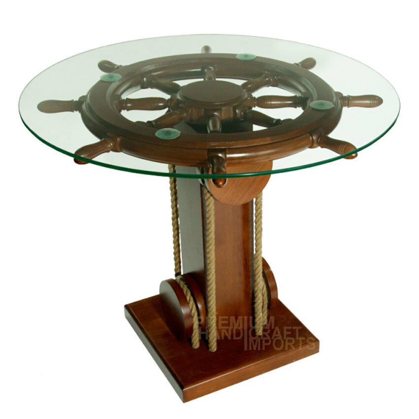 28 ship wheel coffee table with glass top nf0002w ebay for Coffee tables on wheels
