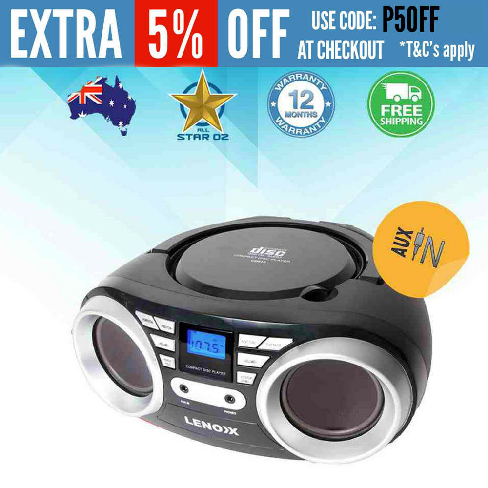 mini cd player cd cd r cd rw fm radio black speakers ebay. Black Bedroom Furniture Sets. Home Design Ideas