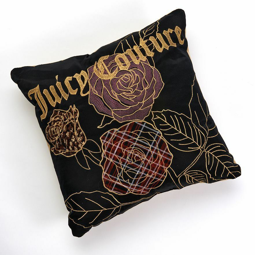NWT Juicy Couture Bedding Throw Pillow - Black Silk Velour Rose Gold embroidered eBay