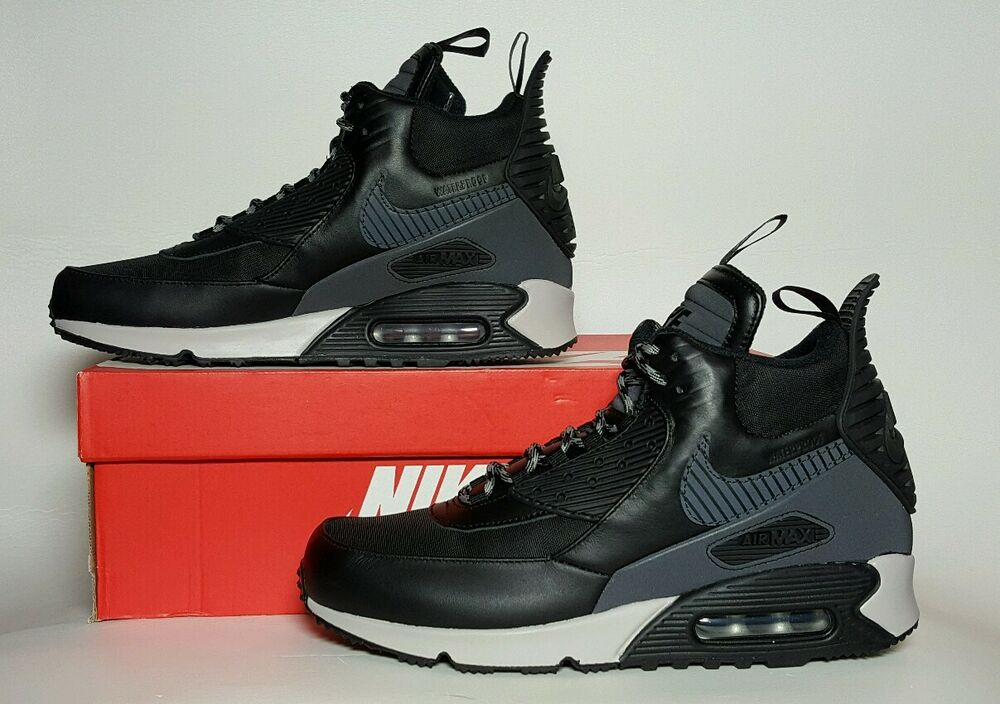 on sale 403e6 940ad Details about NIKE MEN S AIR MAX 90 SNEAKERBOOT WINTER BLACK GREY MULTIPLE  SIZES 684714 001