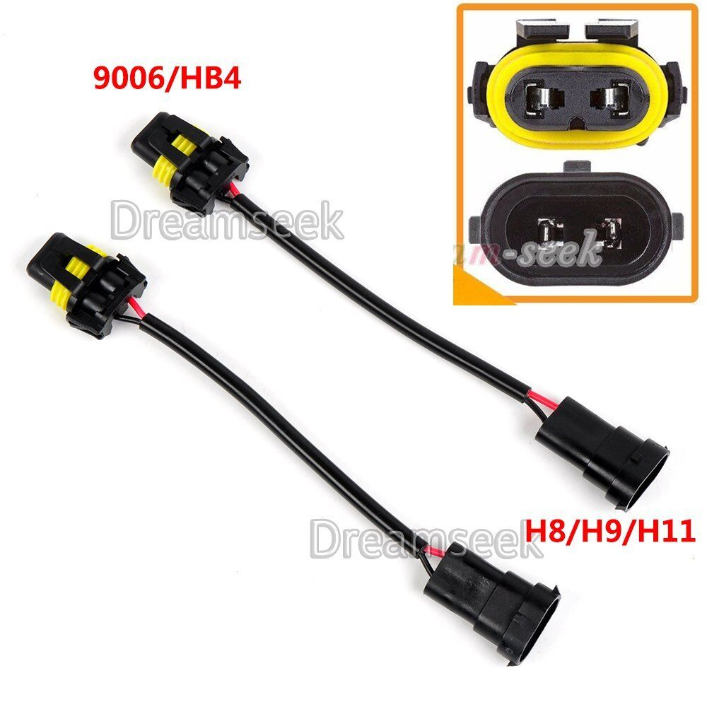 2x 9006 bulb to h8 h11 conversion harness socket adapter
