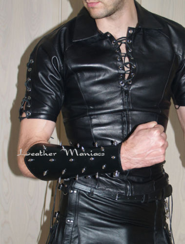 9aadbe69e3 Details about Leather shirt with lacings Gothic lace up shirt