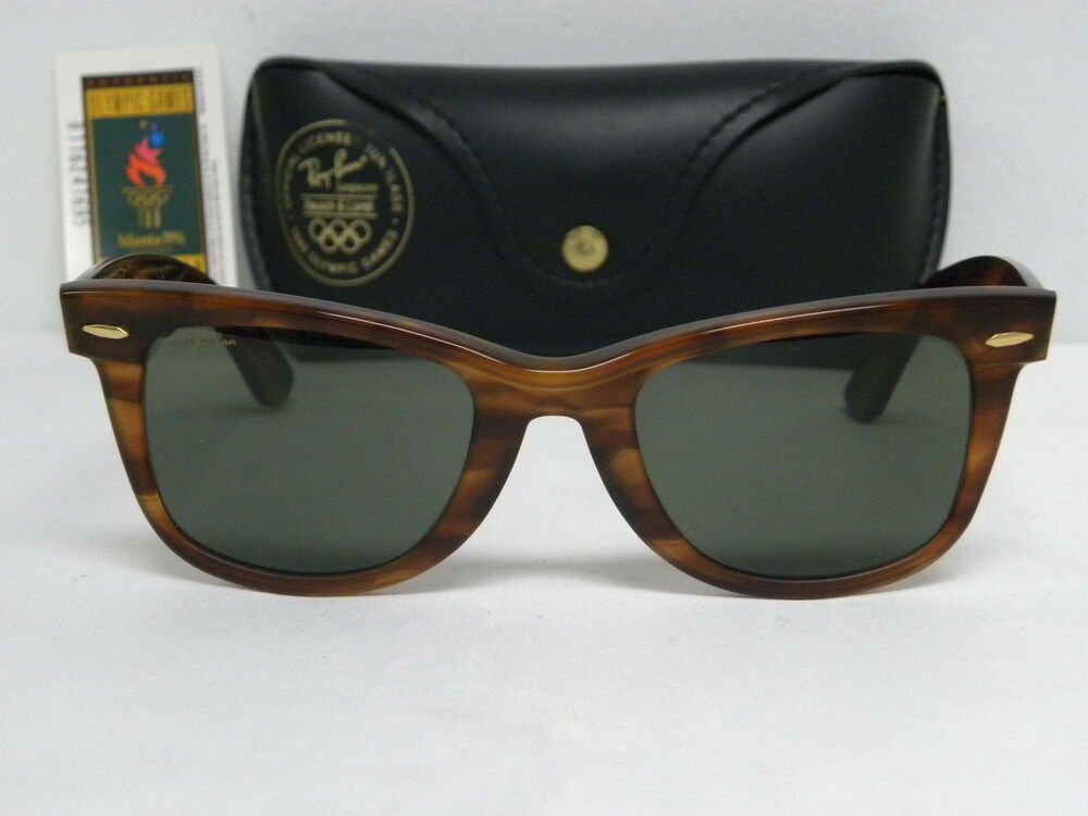 ray ban wayfarer sunglasses usa  new vintage b&l ray ban wayfarer olympic games series usa tortoise mate tortoise