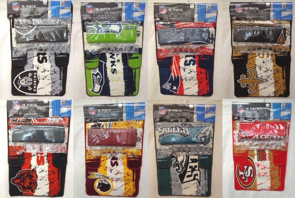 NFL 15 Piece Bath Set Shower Curtain Rugs and Rings