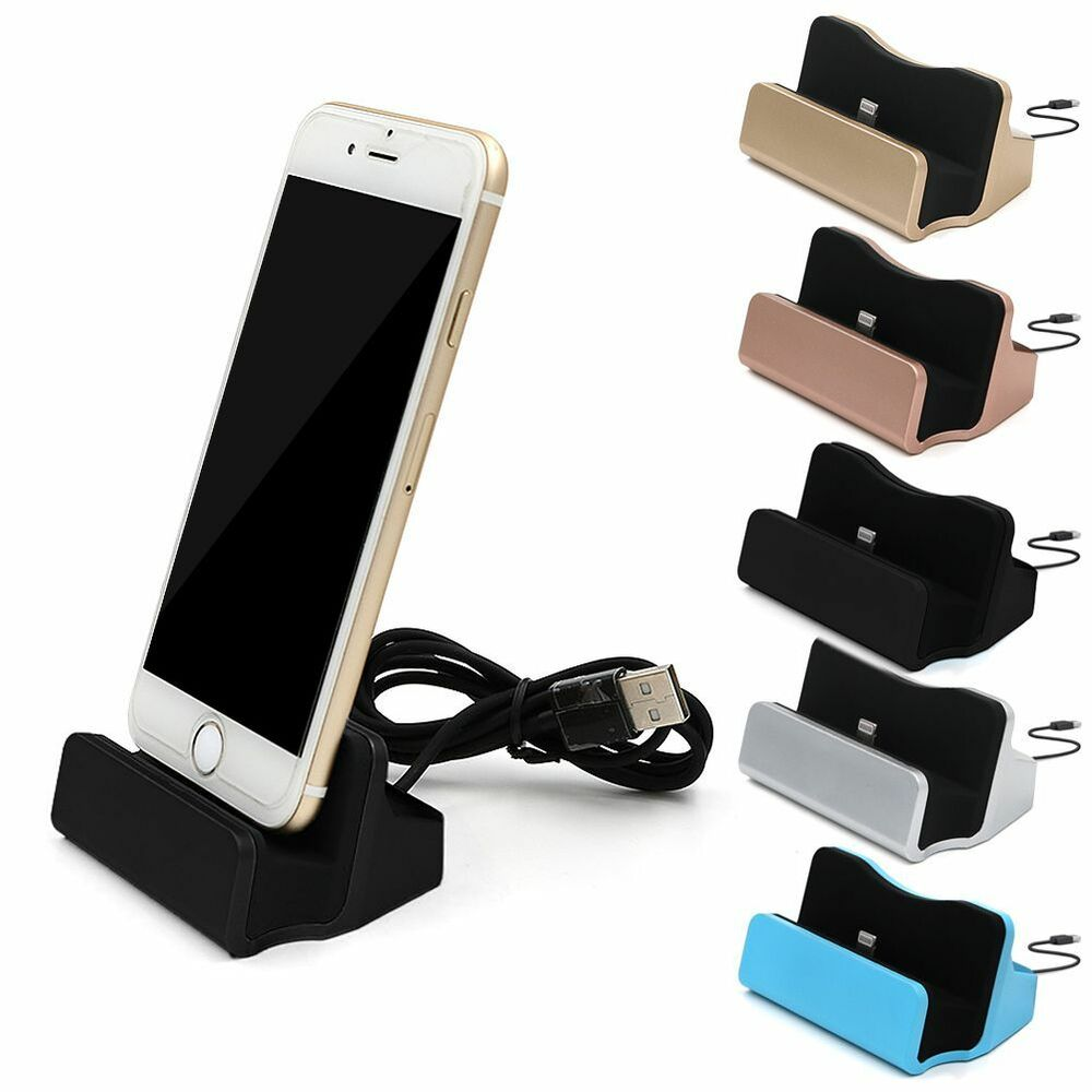 desktop charging dock charger data sync station cradle for iphone se 6 6s 7 plus ebay. Black Bedroom Furniture Sets. Home Design Ideas