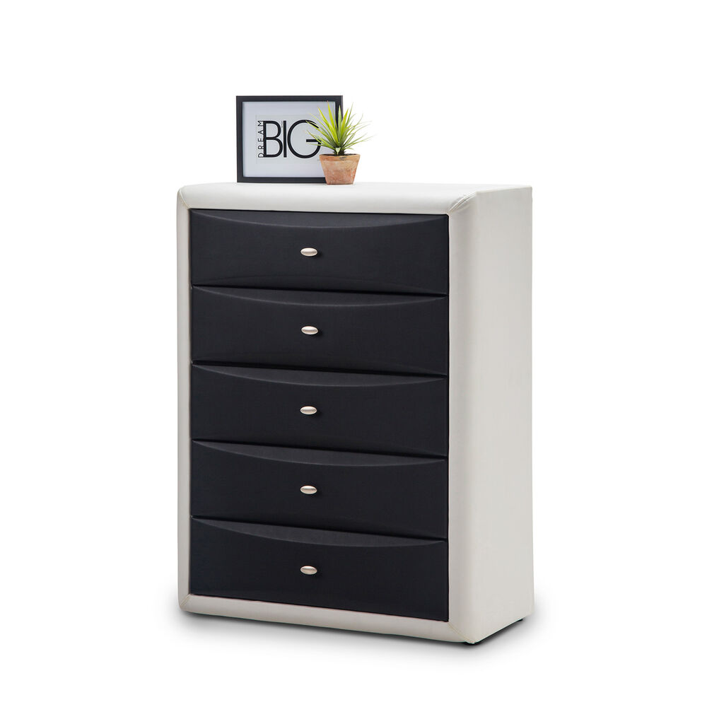 Black and white bedroom leather pu tallboy storage chest of drawers cabinet ebay for White bedroom chest of drawers