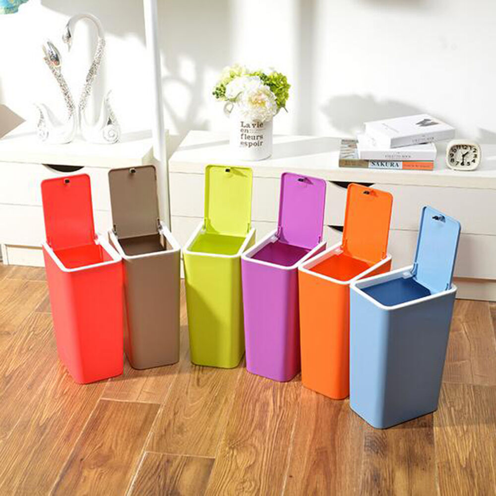 new bathroom bedroom kitchen plastic trash can waste garbage bin wastebasket ebay. Black Bedroom Furniture Sets. Home Design Ideas