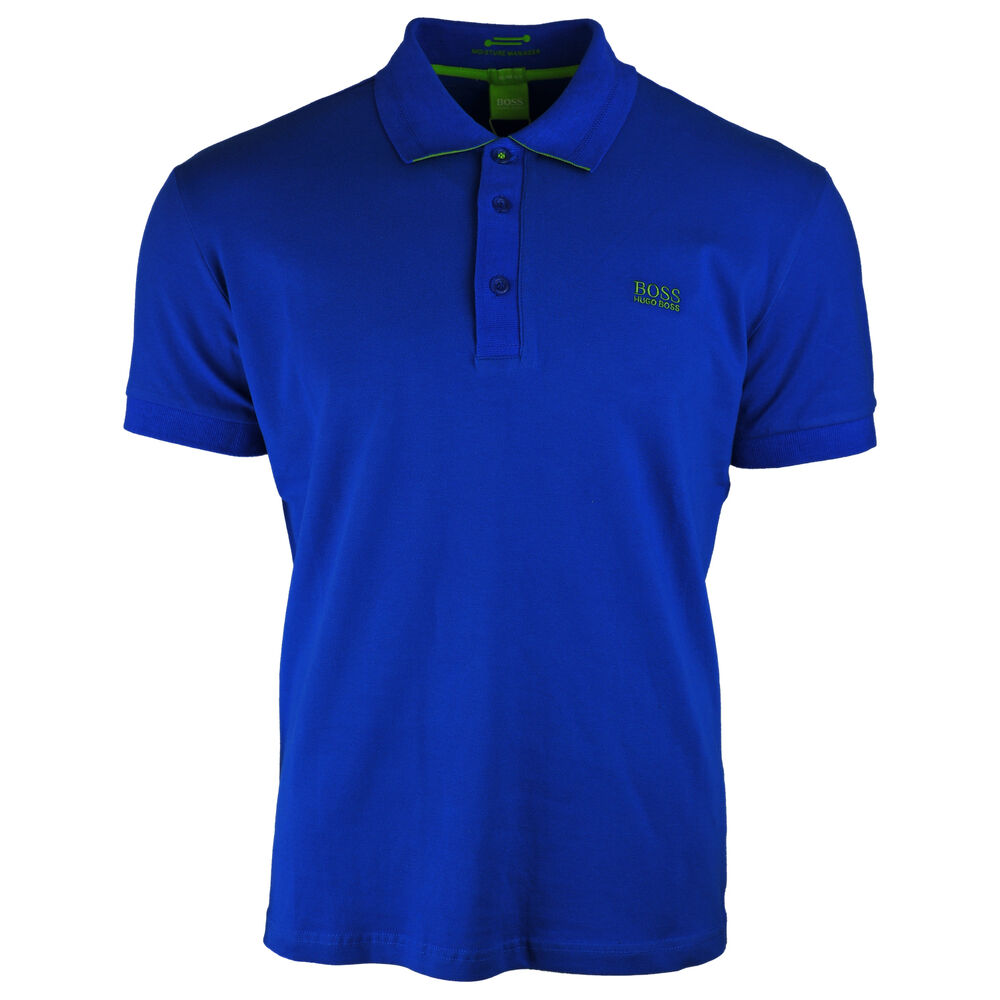 6b900b01 Details about Hugo Boss Slim Fit Moisture Manager Stretch Cotton Blend Blue Polo  Shirt