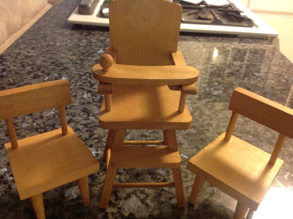 Vintage Cape Cod Toymakers Wooden Doll Furniture High Chair 2 Chairs Ebay