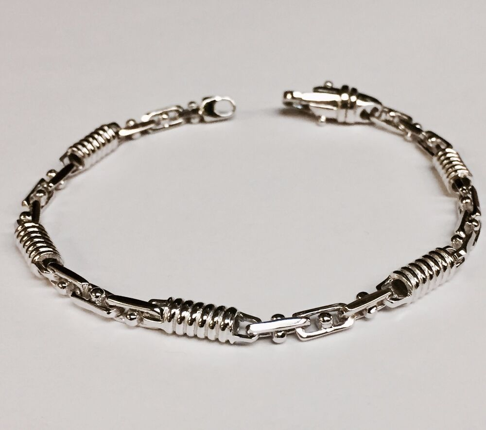 "10kt Solid White Gold Handmade Link Men's Bracelet 8.5"" 5 ..."