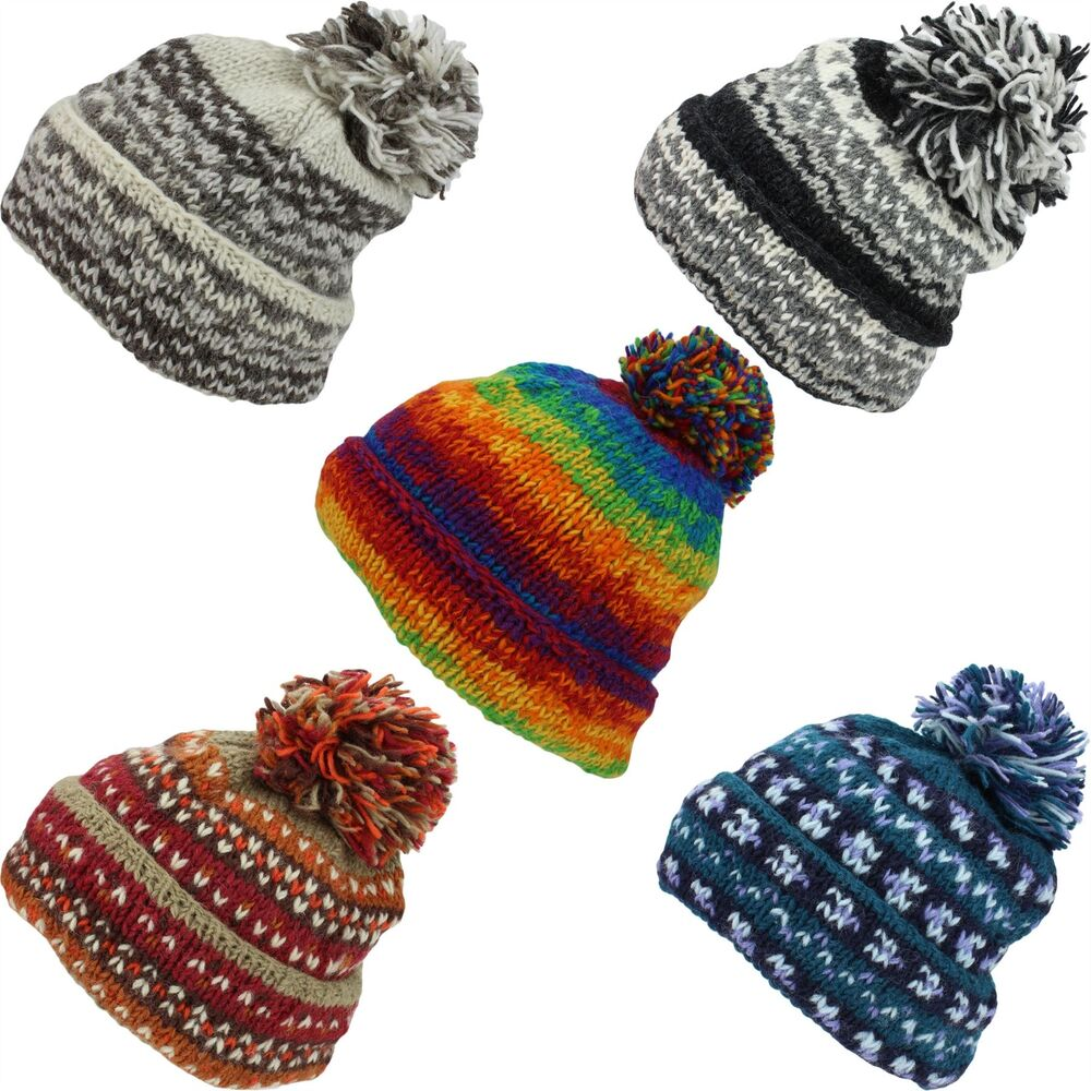69674f12cae Details about SLOUCH BEANIE BOBBLE HAT CHUNKY WOOL KNIT FLEECE LINED BAGGY  MENS LADIES