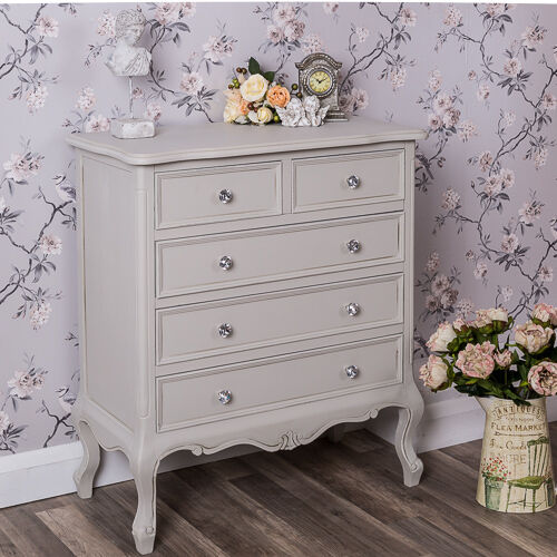 Grey Shabby Chic Bedroom: Grey Chest Of Drawers French Ornate Bedroom Furniture
