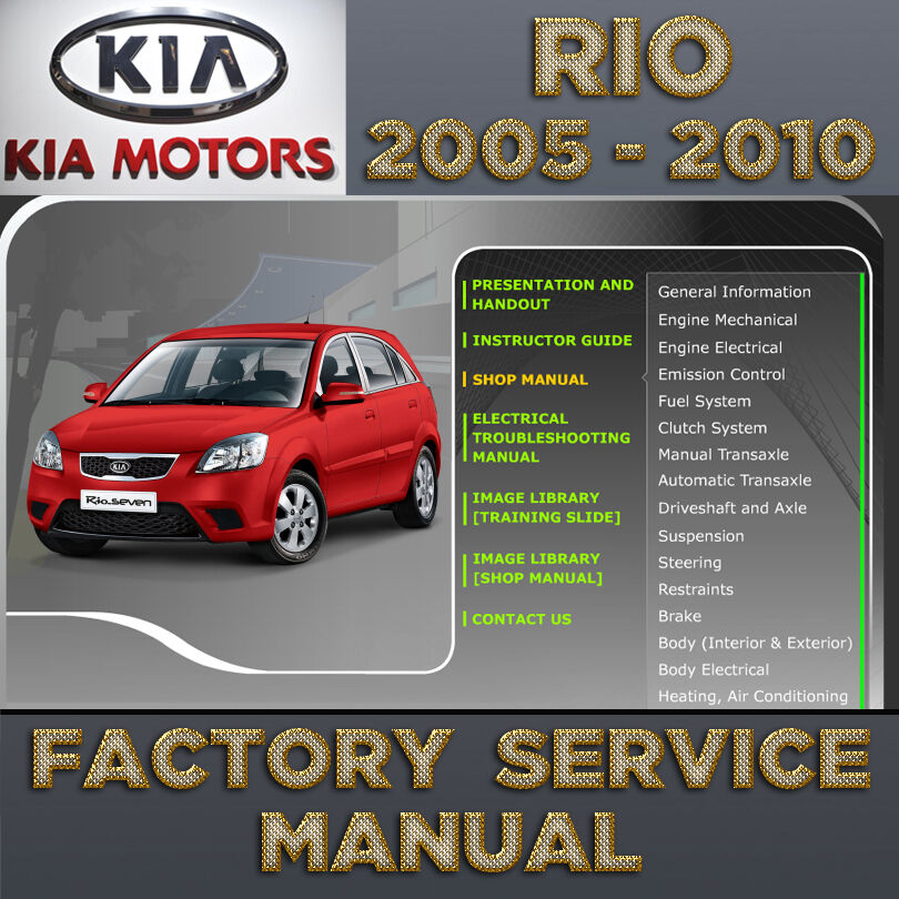 Service Manual 2005 Kia Sorento Sunroof Repair: KIA Rio 2005 2006 2007 2008 2009 2010 2011 Service Repair