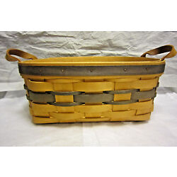 1995 Royce Craft Basket Of Ohio 6 x 9 x 4 1/4'' Tall Leather Handles Excellent