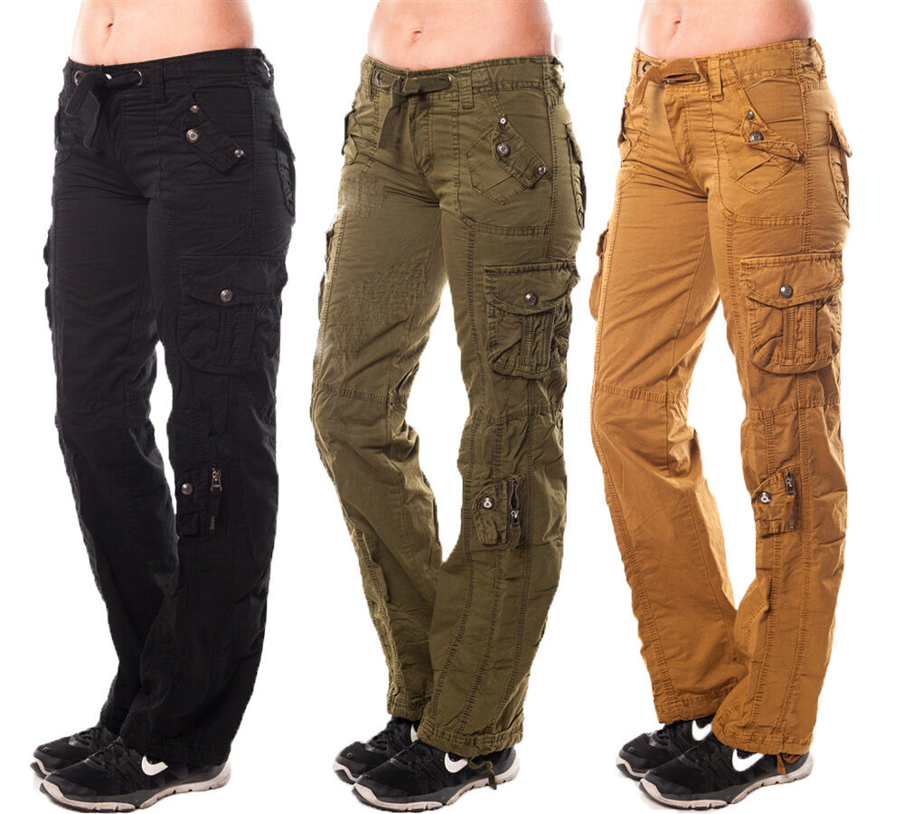 Model Womens Loose Military Trousers Ladies Straight Multi-pocket Baggy Cargo Pants | EBay