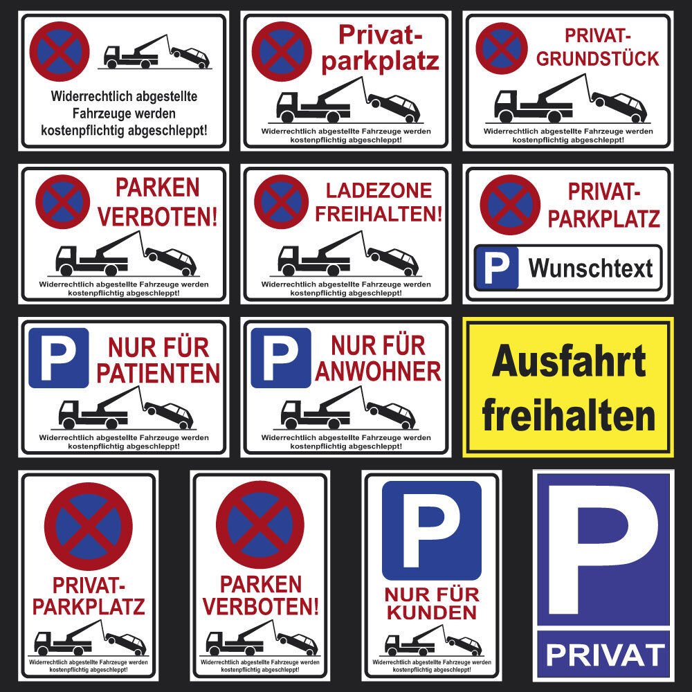 parkplatz schilder parkverbot hinweis schild parkverbotsschild parken verboten ebay. Black Bedroom Furniture Sets. Home Design Ideas