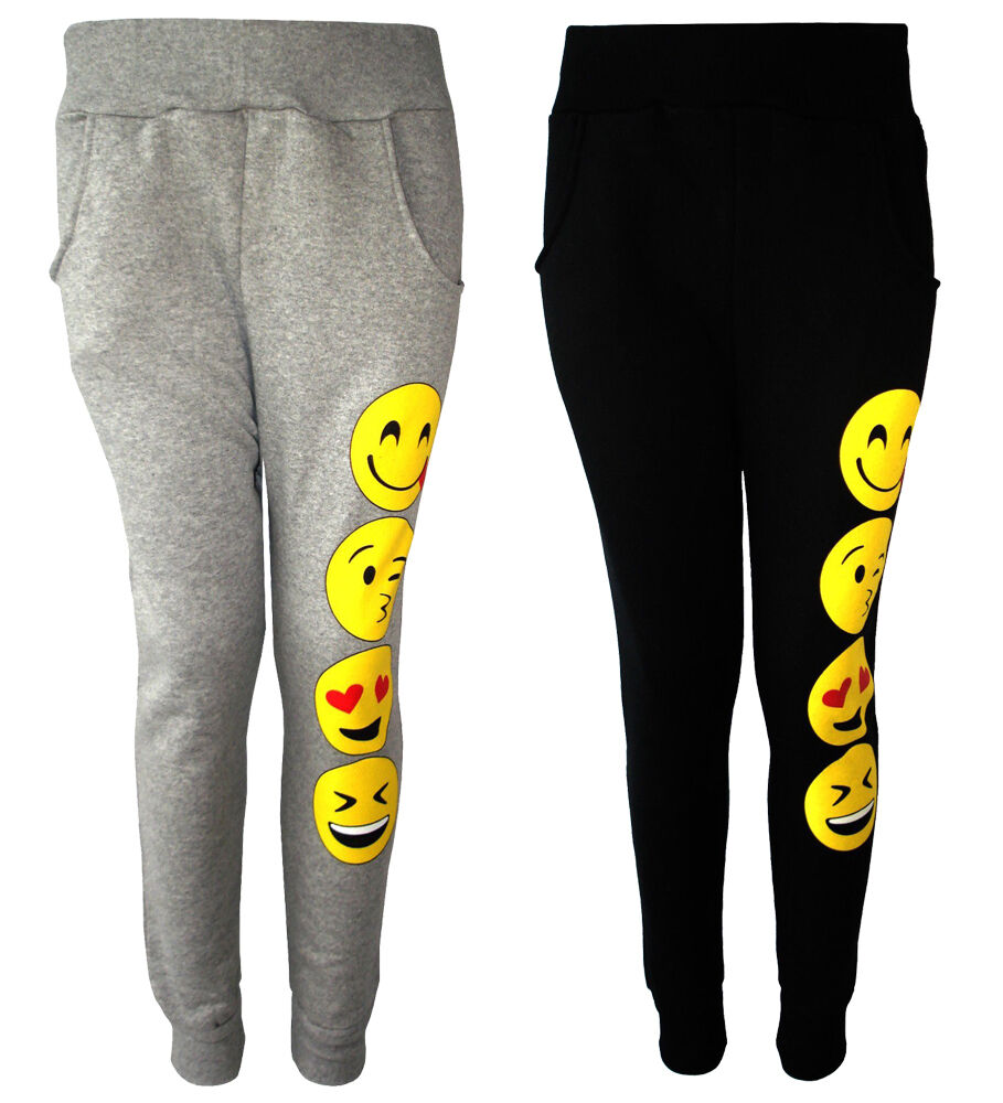 863d4d2071 Details about girls novelty emoji smiley faces emotions emoticons print  jogging bottom pants jpg 909x1000 Emoji