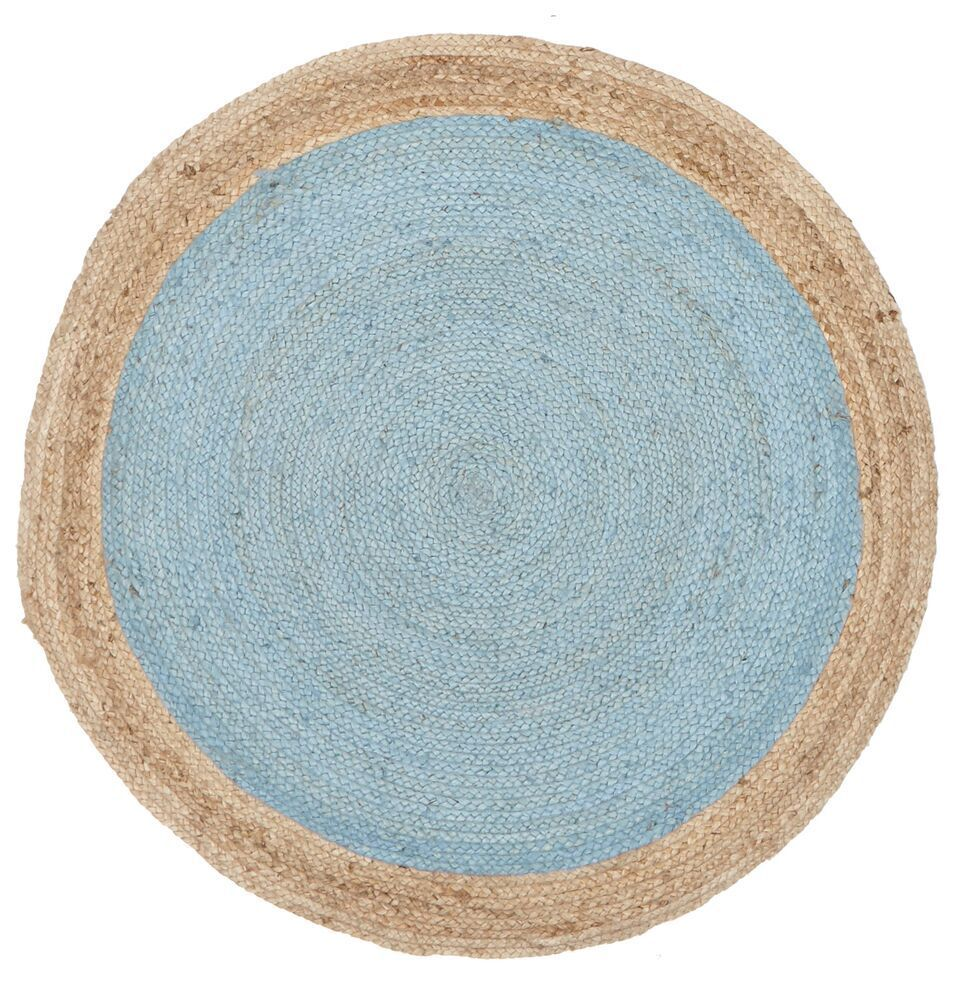 Large round floor rug hand braided rug blue 150 x 150 ebay for Where to buy round rugs