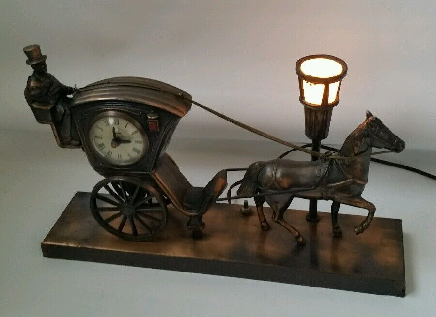 Vintage United Metal Goods Horse And Carriage Mantel Clock